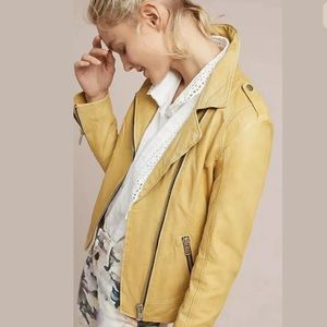 New Anthropologie Doma Leather Motorcycle Jacket